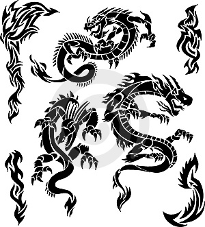 Black Tribal Dragon Tattoos