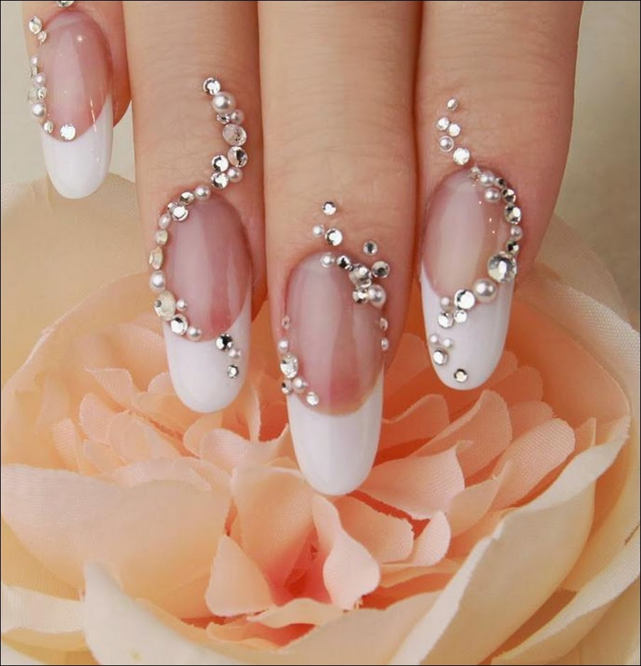 ślubne paznokcie z cyrkoniami