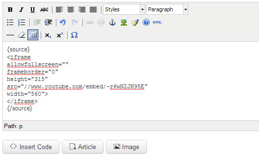 finished inserting the embed code of youtube video