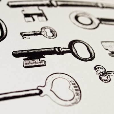 Victorian Keys A4 Black Screen Print by We laugh indoors close up