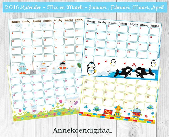 kalender voor kinderen, kalender 2016, kinder kalender, kalender zelf printen, kalender printable