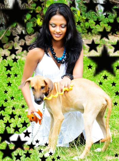 Shalani Tharaka With Dog Photos