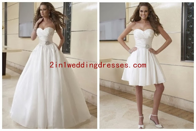 Taffeta Sweetheart with Crisscross Bodice Ball Gown Hot 2 in 1 Wedding Gown