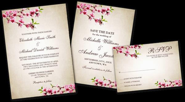 Pink Cherry Blossoms Vintage Tan Wedding Invitations