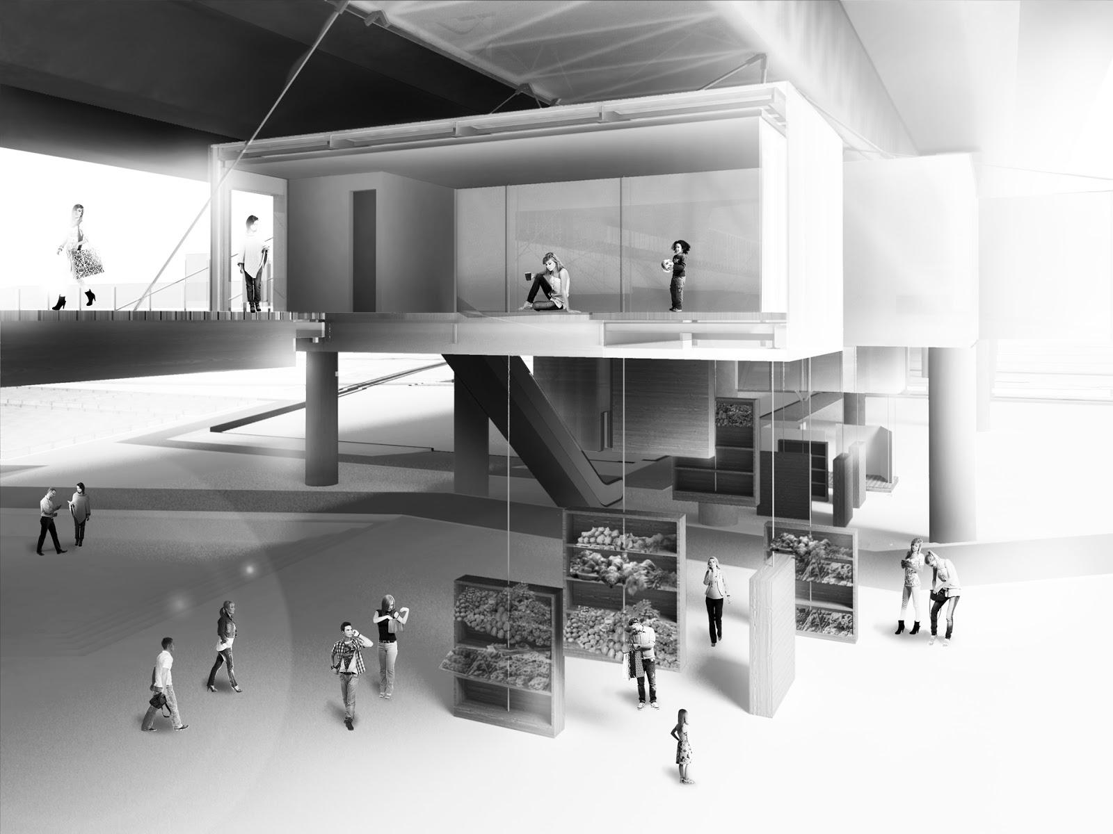 RENDERS 3D PFC - Fotomontaje 3D en Sección de una de las Tiendas para el PFC de un alumno de la UEM - ETSAM UEM UCJC ESAYT USPCEU USP CEU IE UAX UAH UPM ETSA