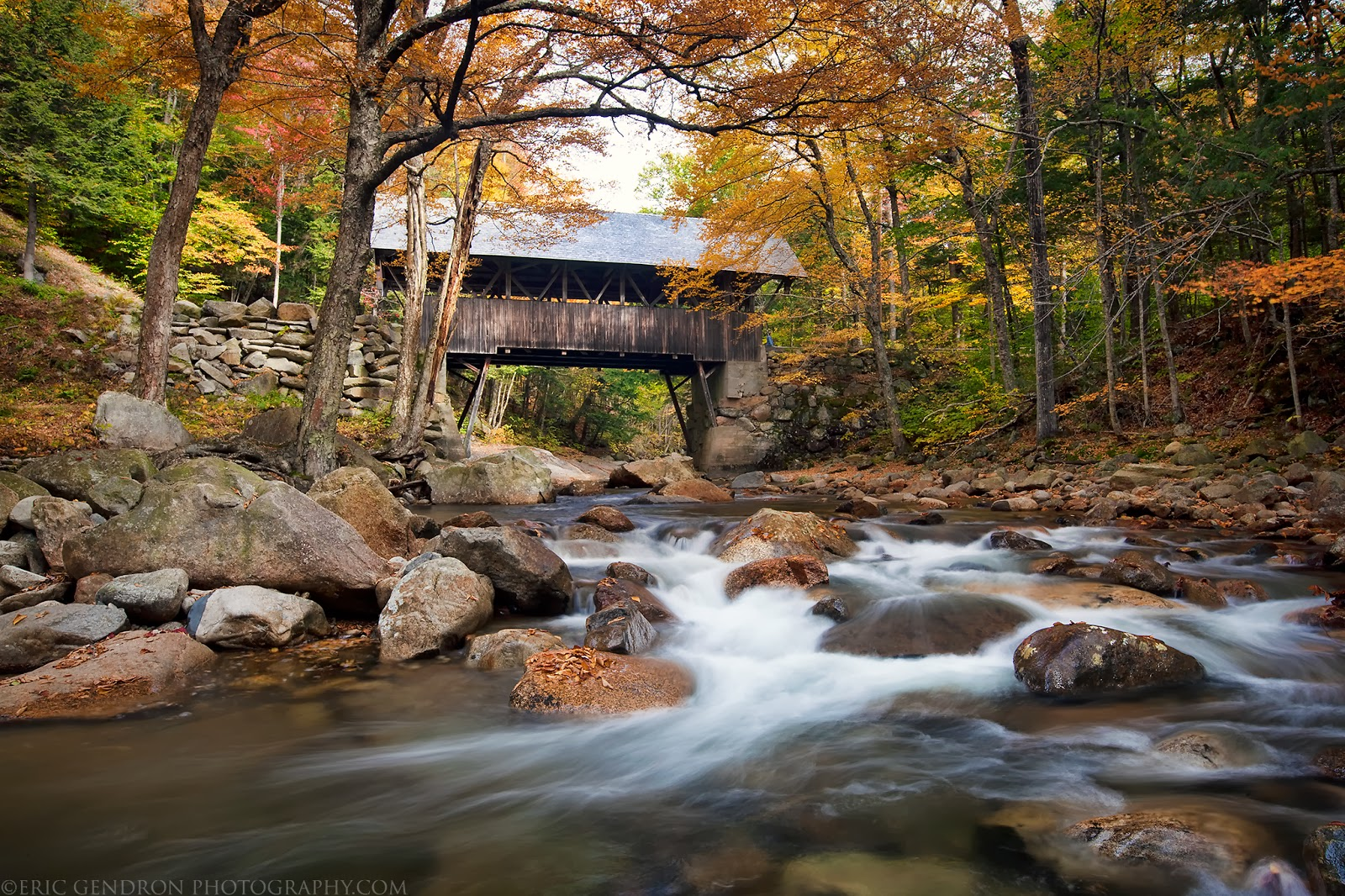 autumn at flume covered bridge nh
