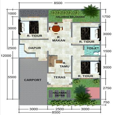 denah rumah type 60 desain denah rumah terbaru denah
