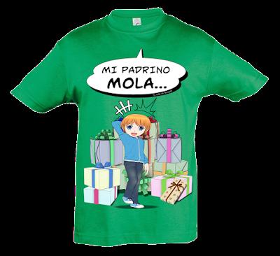 "Camiseta manga corta para niños ""Mi padrino mola (niño)"" color verde"