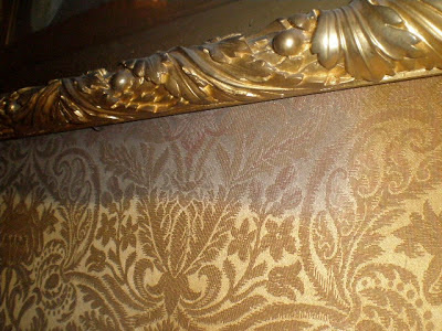 Antique textile wall covering, art conservation, repair and restoration,