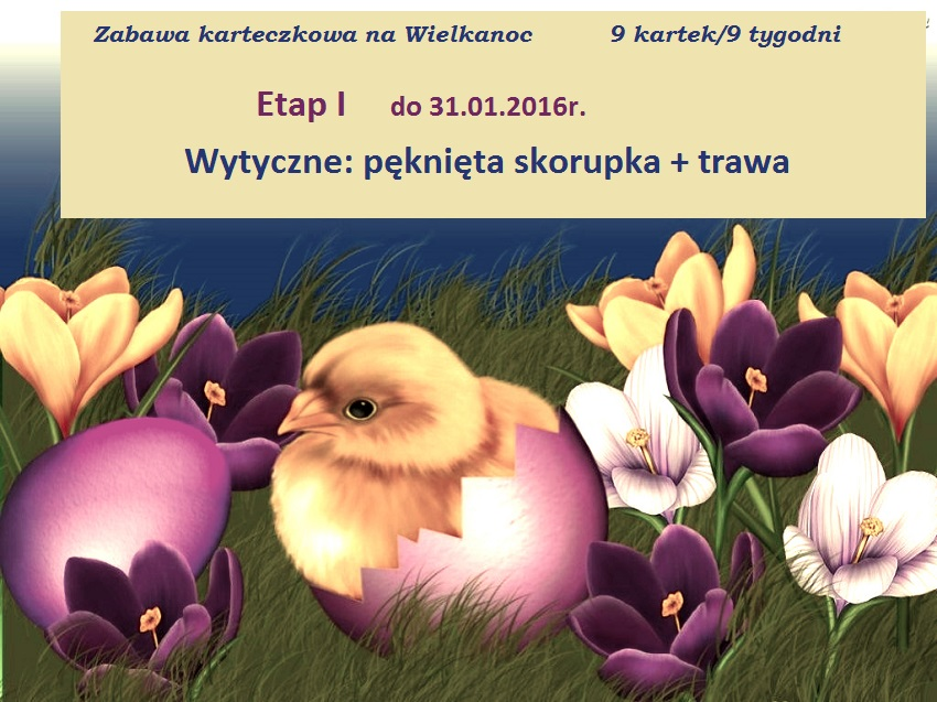 Zabawa karteczkowa na Wielkanoc  9kartek/9tygodni
