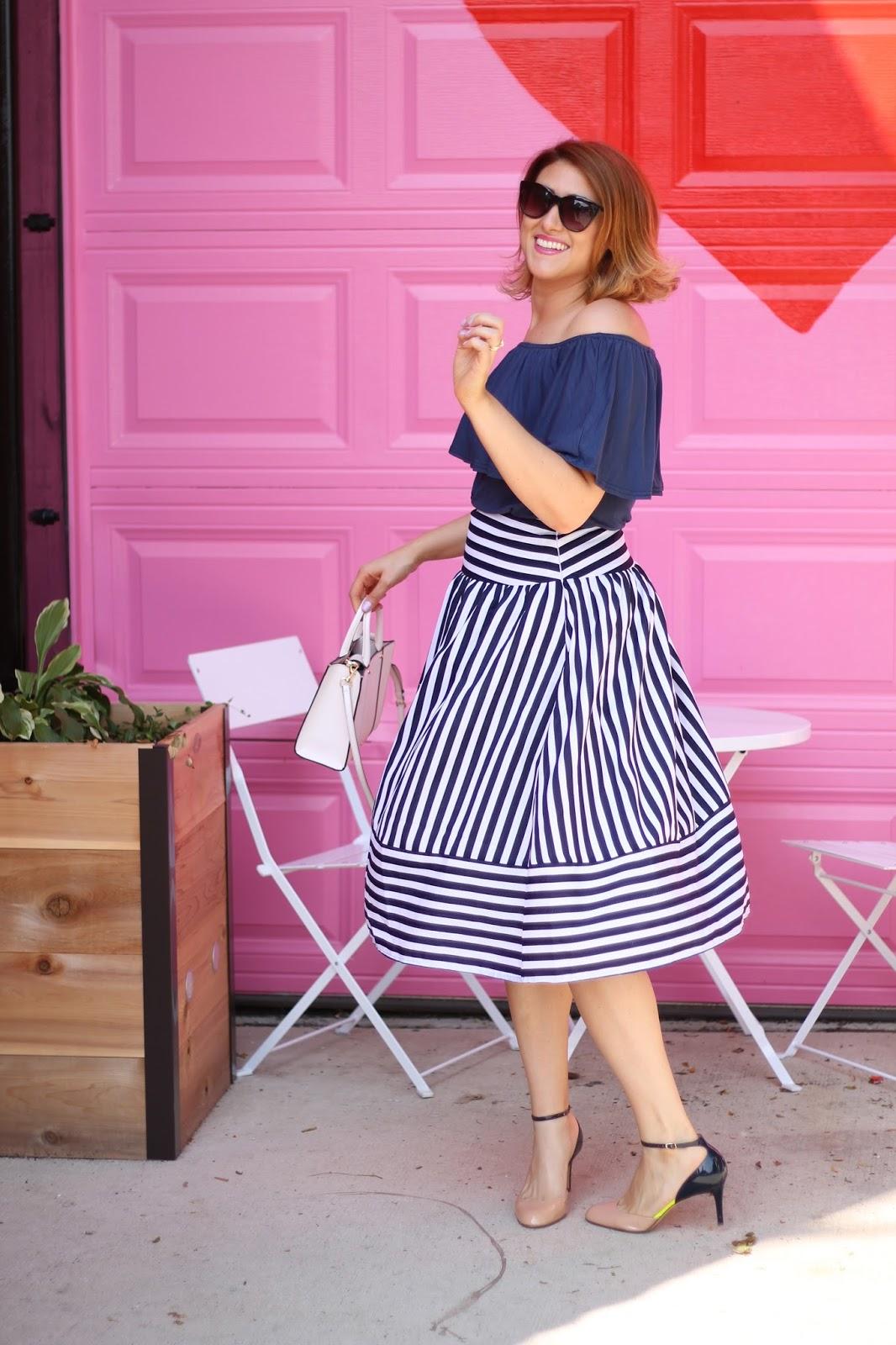 joa, midi, skirt, striped