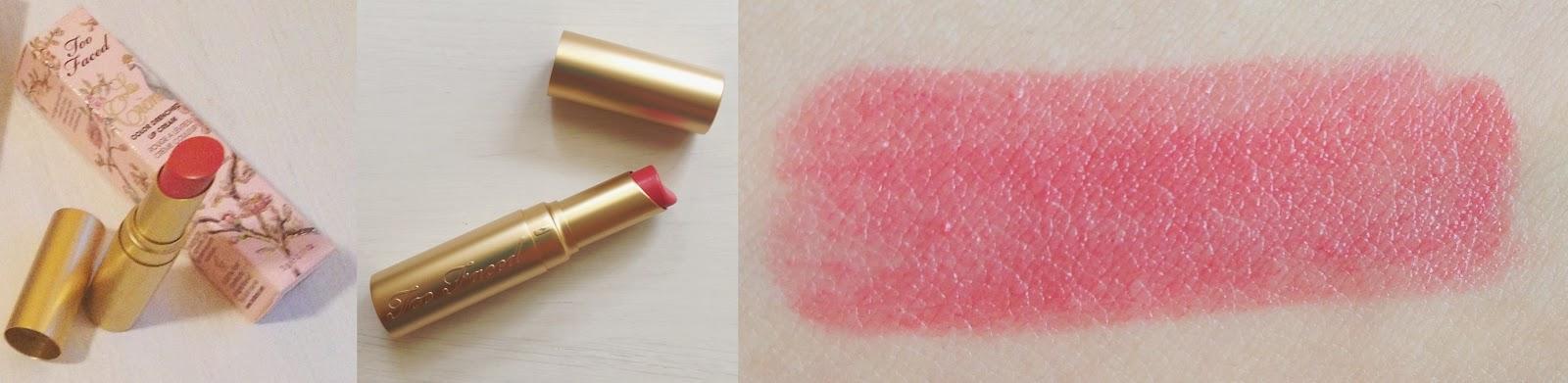 Violeta Botánica: Too Faced La Crème lipstick Coral Fire