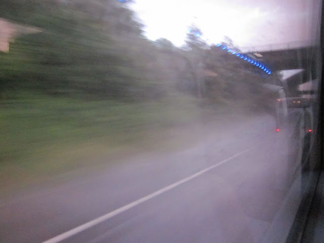 Blurry view of motorway verge. Approaching a bridge. Reflections of blue lights.