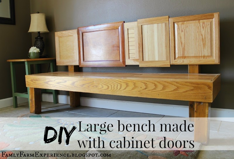 http://familyfarmexperience.blogspot.com/2014/09/diy-large-bench-made-with-cabinet-doors.html