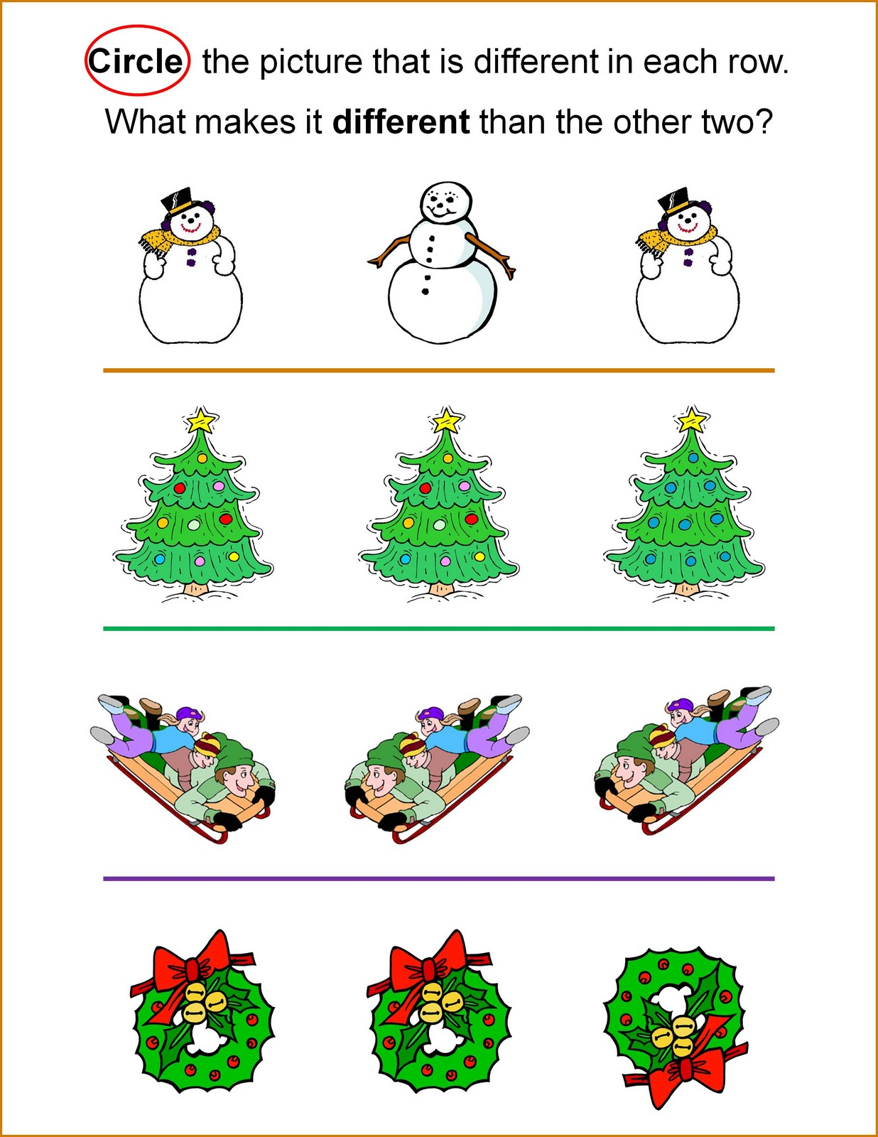 Holiday Activity Sheet - Alike and Different