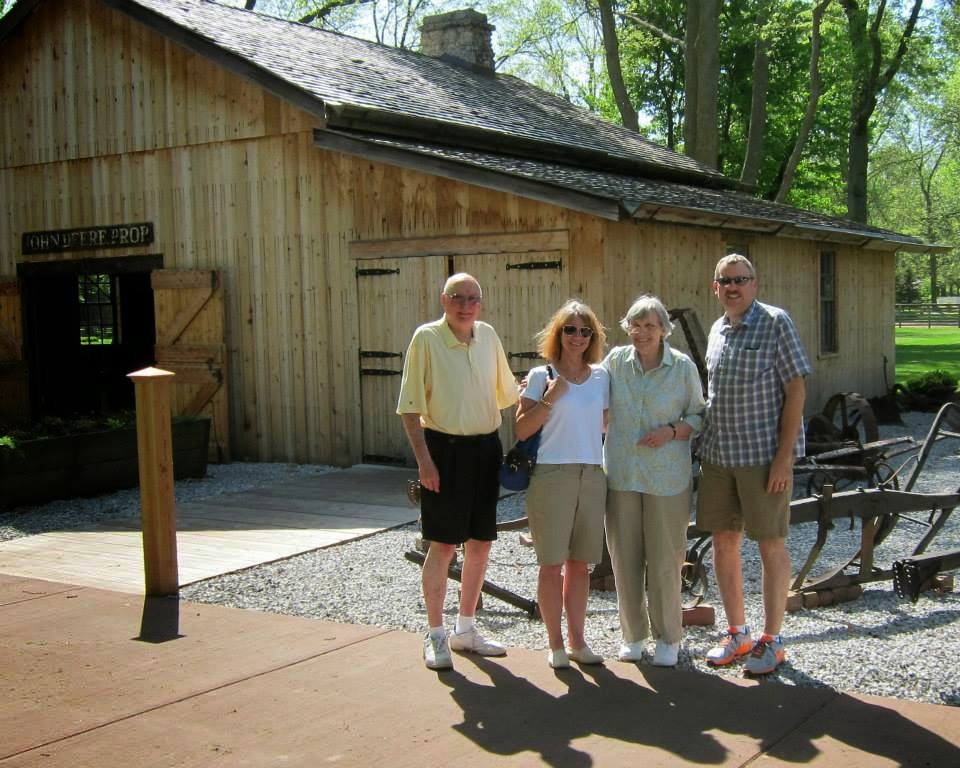 Matt, Lynne, and Tony & Mary Drobnik in front of the barn/forge