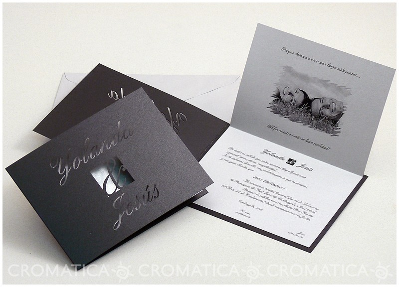Invitación negra elegante boda