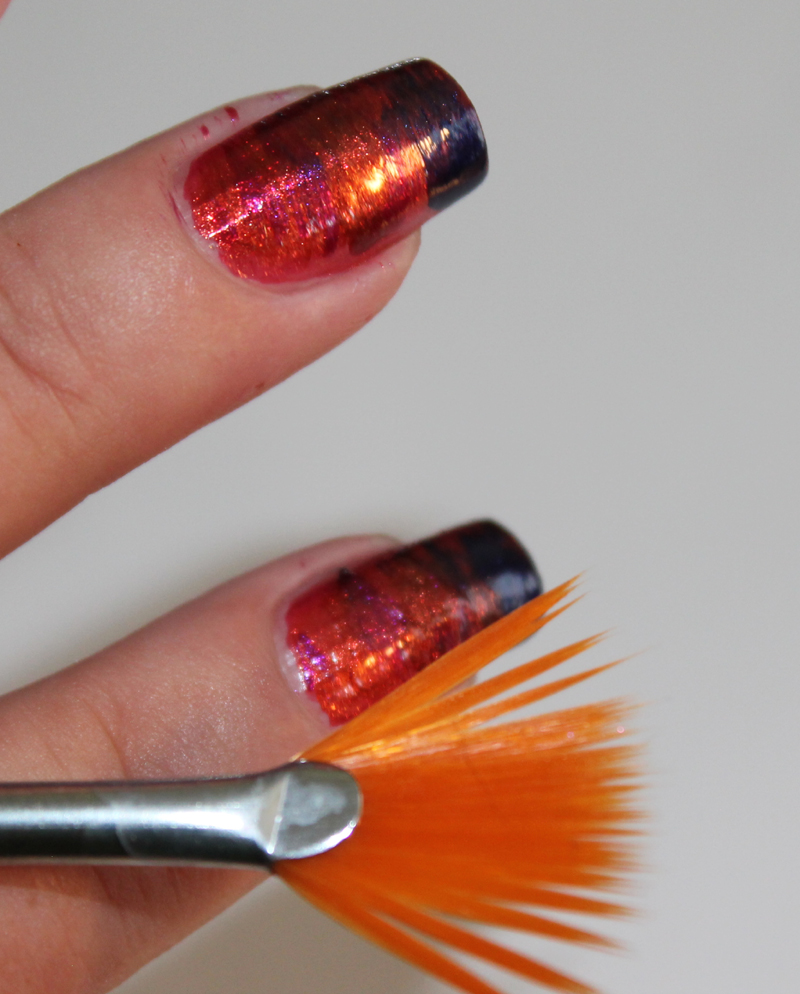 Sunset nail art using a fan brush set in lacquer set in lacquer prinsesfo Image collections