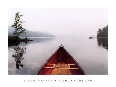 looking over prow of rowboat over expanse of water. print for sale at art.com