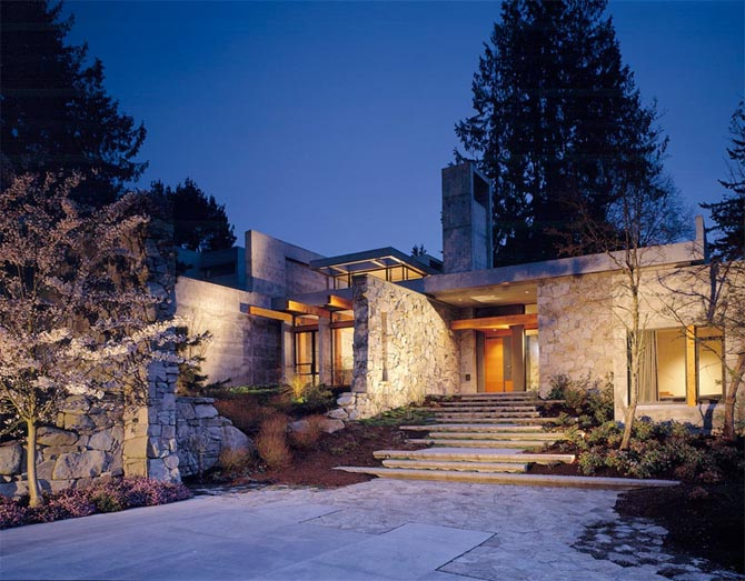 Home design interior northwest contemporary house design for Modern stone houses architecture