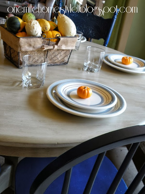 Refinished tabletop detail - with fall decor