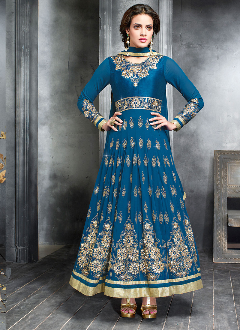 Georgette Embroidered Work Anarkali Suits - Indian Saree Store ~ Buy ...
