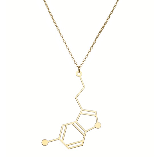 Aroha Silhouettes Gold Plated Serotonin Molecule Necklace