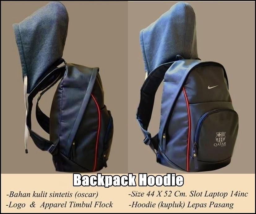 Tas Backpack Hoodie Bahan Kulit Barcelona Logo Putih