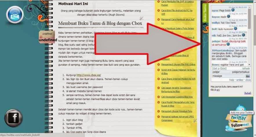 Membuat Buku Tamu di Blog dengan Cbox tersembunyi