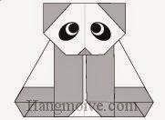 Bước 26: Vẽ mắt để hoàn thành cách xếp con gấu trúc Panda đang ngồi bằng giấy.