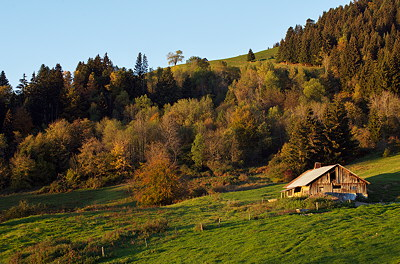 Image of an alpine barn in Parmelan mountain