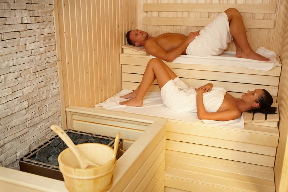 man woman in sauna