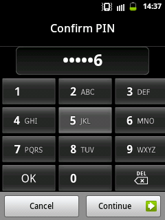 Confirm PIN