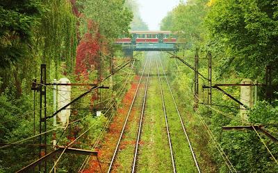 Paisaje de las vias de un tren