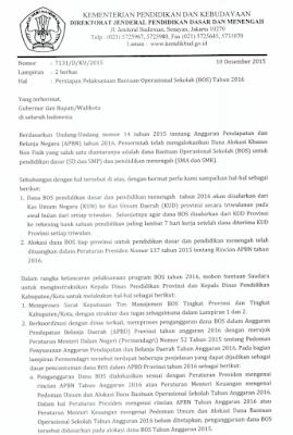 Surat Edaran Kemendikbud Tentang Persiapan Pelaksanaan BOS 2016