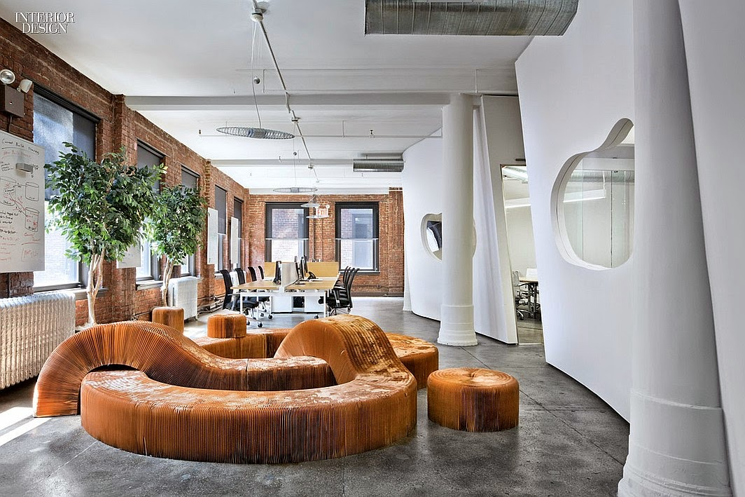 jwt new york office. rearrangeable seating made of unbleached paper in the staff breakout room a novel idea jwt new york office