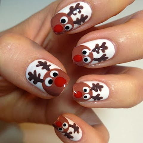 World of fashion christmas nail designs reindeer nail design prinsesfo Choice Image