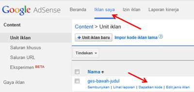 Cara Memasang Iklan Google AdSense dalam Postingan