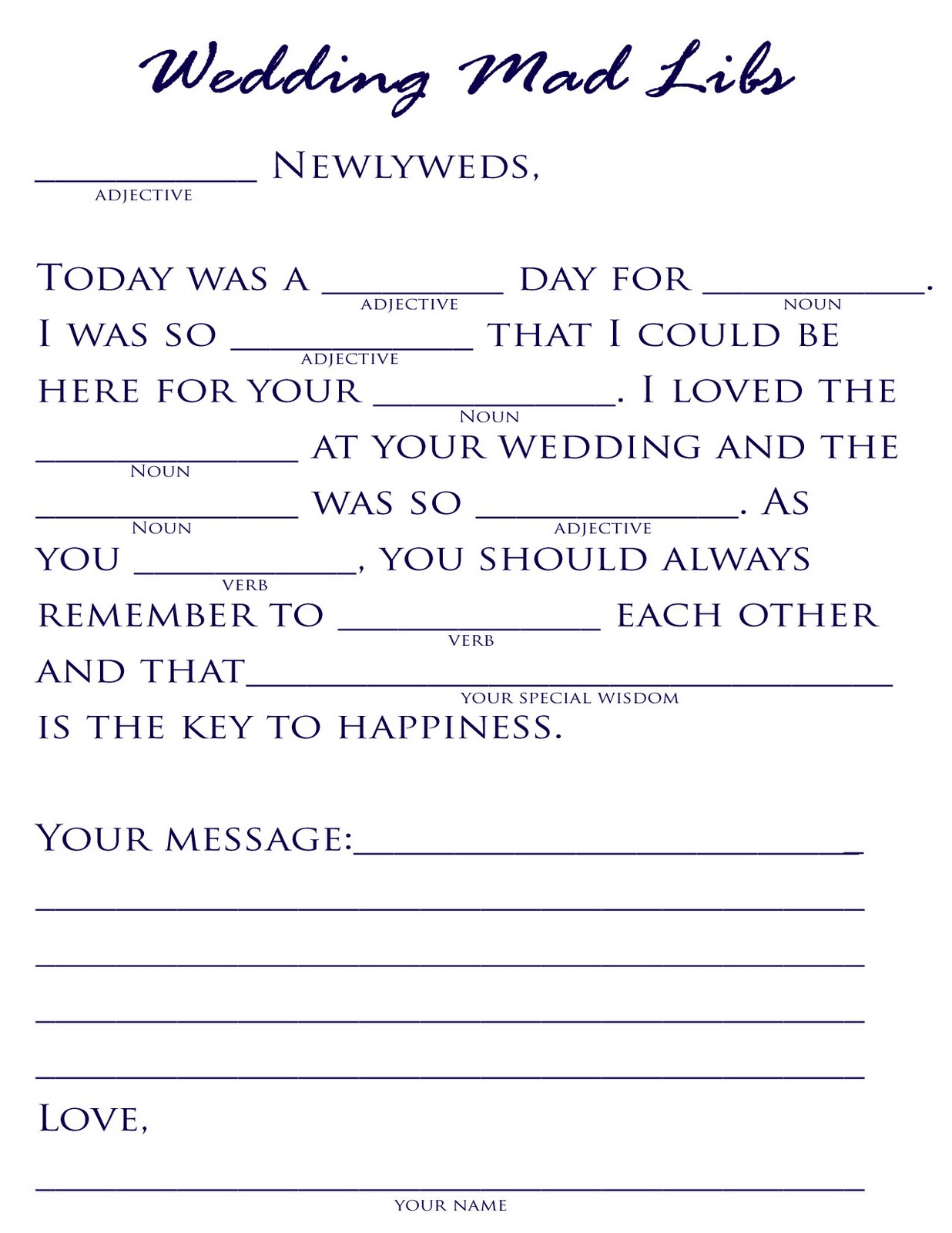Trust image inside printable wedding mad libs