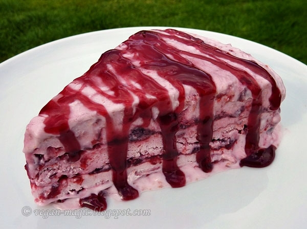 Coconut Cherry Ice Cream Layer Cake « Vegan Recipes « Vegan Magic