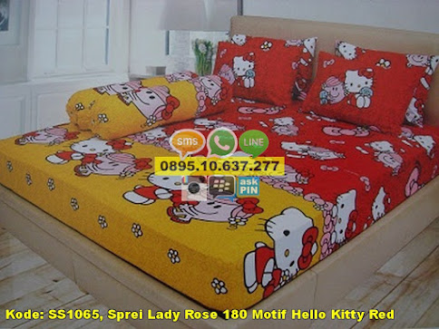 Sprei Lady Rose 180 Motif Hello Kitty Red