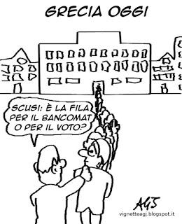 referendum grecia, affluenza, grexit, satira vignetta