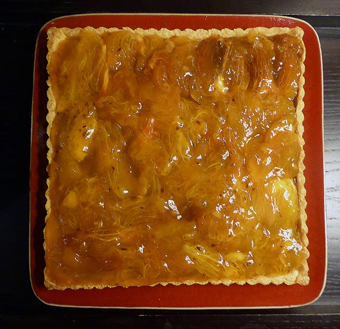 Crostata di marmellata d'arance, gianduia e cachi