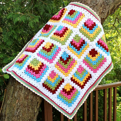 Mitered Granny Square Baby Blanket