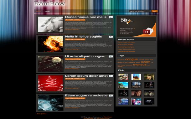 Free Abstract Rainbow Blog Wordpress Theme Template