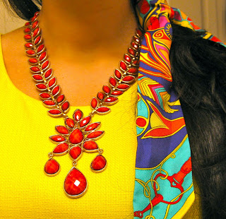Coral Amrita Singh necklace and Hermes twilly