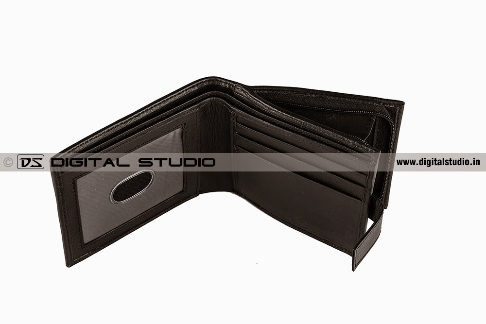 top view of black leather wallet