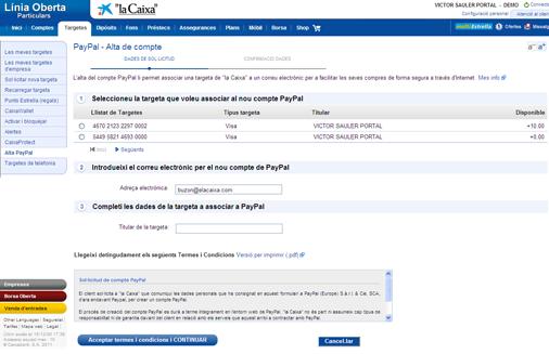 procés per crear un compte PayPal