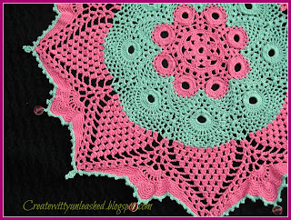 Crochet colorful doily with beads 5