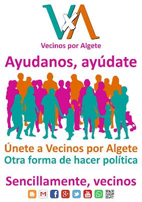 Ayudanos, ayúdate. Únete a Vecinos por Algete. Otra forma de hacer política. Sencillamente Vecinos.